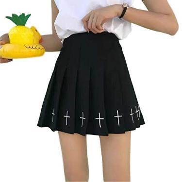 Saia escolar feminina de cintura alta plissada, saia evasê para meninas com forro, Preto, M