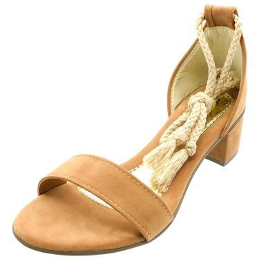 Sandália Romântica Calçados Nó de Amarrar Caramelo Claro  feminino