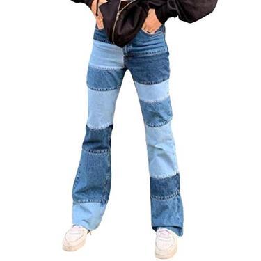 Jeans feminino Y2K Baggy Streetwear Jeans Feminino Y2K Fashion Cintura Alta Jeans Calças Estilo Vintage, Xwx1201125ap09, L