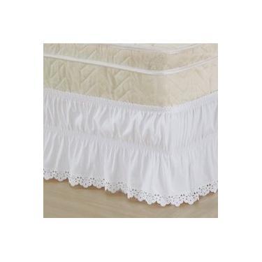 Imagem de Saia Box para Cama Casal Padrão com Lese Tecido Microfibra - Branco