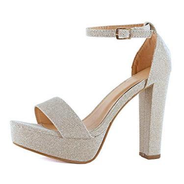 Guilty Shoes - Sandália feminina salto alto plataforma stiletto - Peep Toe recorte confortável salto sexy sandália, Champagne Glitter, 5
