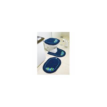 Imagem de Jogo de Tapetes de Crochê para Banheiro Bordado Colorido 3 Peças Azul Marinho