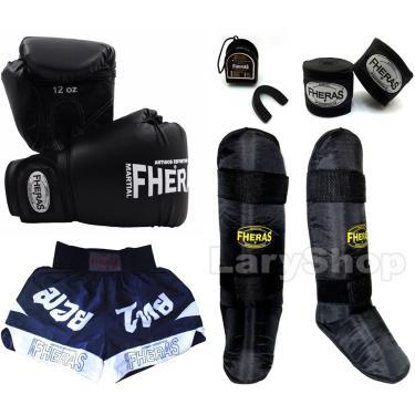 Kit Muay Thai Fheras Luva Shorts Canel. Band Buc 14oz Preta