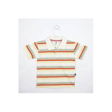 Camiseta Infantil Masculina Manga Curta Creme, Laranja E Cáqui