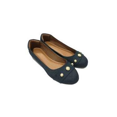 Sapatilha Feminina Bico Redondo Jeans Calçados Femininos