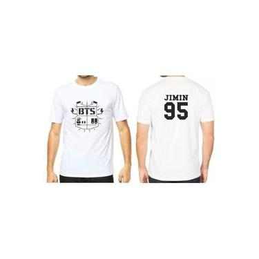 Camiseta Camisa Unissex Kpop Bts Bangtan Boys Logo Colete Integrante Jimin 95 Branco