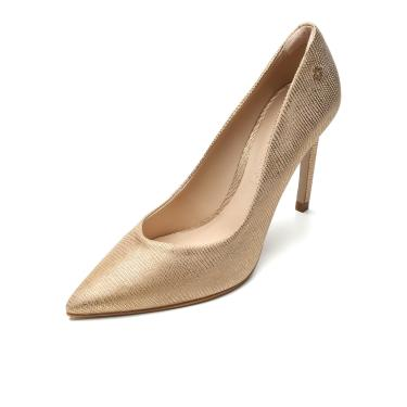 Scarpin Couro Capodarte Metalizado Dourado Capodarte 4008379 feminino