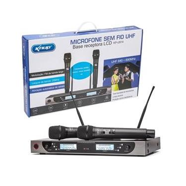 Microfone Sem Fio Duplo profissional UHF com display Digital KP-U914