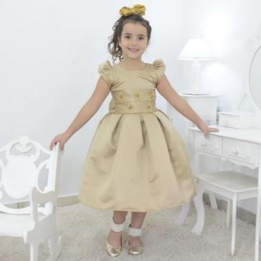 Vestido Infantil Dourado Festa