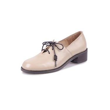 TinaCus Sapato feminino de couro genuíno feito à mão bico redondo confortável salto baixo grosso elegante sapato Oxford urbano, Damasco, 8.5
