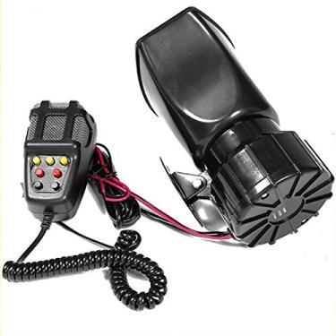 Imagem de AmiAbi 100W 12V 7 Som Alto Alarme de Carro Polícia Buzina de Incêndio Sirene PA Altifalante Sistema MIC Buzina de Motocicleta de Carro Buzina de 7 Tom de Sirene preta 1. Este produto é adequado para