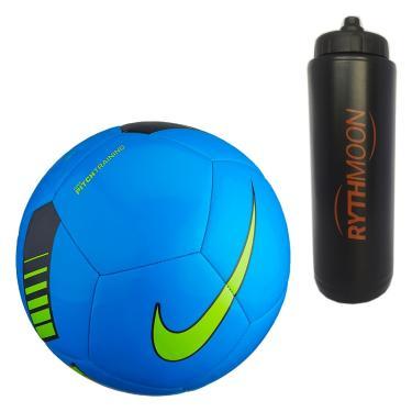 Kit Bola de Futebol de Campo Pitch Training Nike SC3101 Azul Verde +  Squeeze Automático 43f48c538eb62