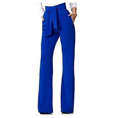 Doufine Calça pantalona feminina folgada para lazer com cinto de malha sobre a cintura, Azul, XL