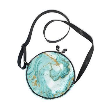 Cooper Girl Bolsa tiracolo redonda de mármore turquesa dourado bolsa de ombro único para crianças, meninas, mulheres, meninos e adolescentes