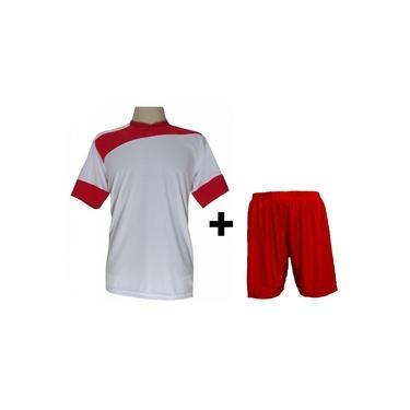 Uniforme Esportivo com 14 camisas Sporting Branco/Vermelho + 14 calções modelo Madrid Vermelho +