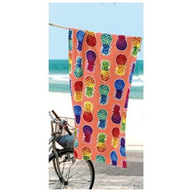 00fa78032 Toalha De Praia Aveludada Velour Colorful Pineapples Döhler