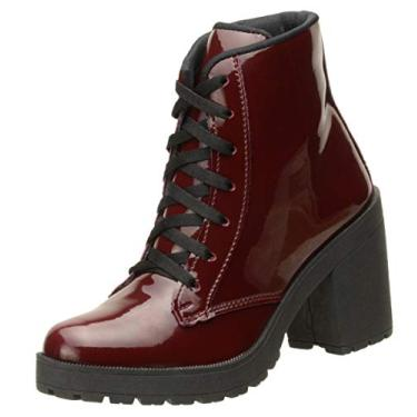 Bota Feminina Modelo Ankle Boot Cano Curto Top Line material ecologico DD30 (37, vinho verniz)