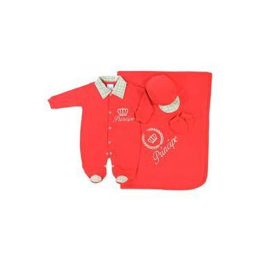 Saída de Maternidade Príncipe Vermelho Bebê Menino 4 Peças Malha