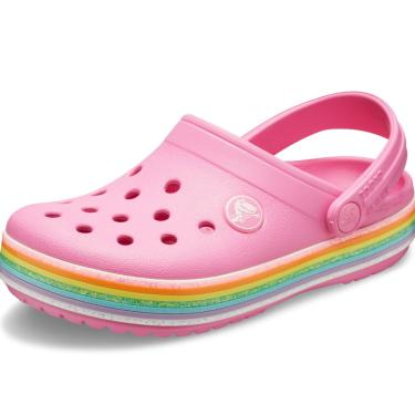 Sandália Crocs Crocband Rainbow Glitter Clog K Rosa.  menina