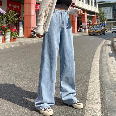 Calças de Brim das mulheres Lazer Soltas de Cintura Alta calça jeans perna larga Mulheres Jean Do 239396637