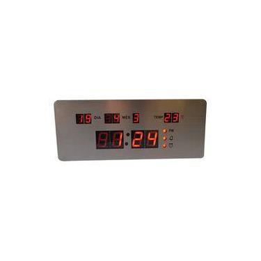 7fb6b0a82df Relógio Parede ou Mesa Digital Led Termômetro Calendário 4 Alarmes Inox  RD170702