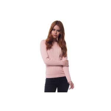Blusa Logan Tricot Feminina Suéter Modal Manga Longa Rosa Nude
