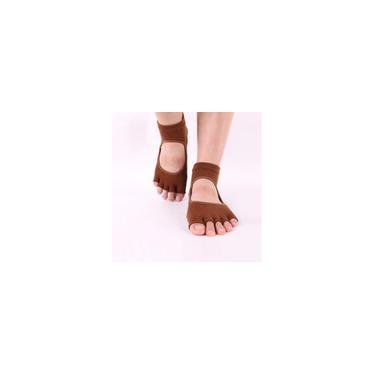 Meias femininas short split-toe de silicone ioga, cinco meias de dedo, marrom 1 par
