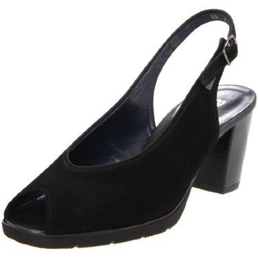 Sapatilha feminina Stina Peep-Toe da Aara, Black Suede, 7.5