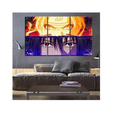quadros de 3 peças naruto uzimake e sasuke uchiaha decoraçao