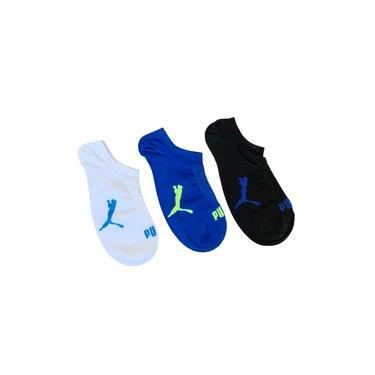 Meia Puma sapatilha c/ 3 Pares 39 a 43 preto azul branca
