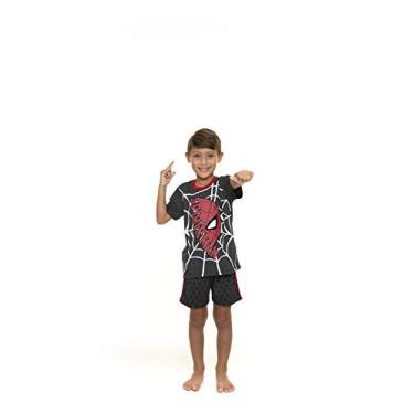 Conjunto de Pijama Infantil Manga Curta, Spider, Masculino, Preto/Vermelho, 8