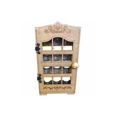 Imagem de Porta Condimentos Suporte Em Madeira Para 12 Potes De Tempero com Porta