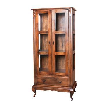 Cristaleira Alta com Lateral de Vidro 2 Portas, 1 Gaveta e Pés Luis XV - Wood Prime NL 11693