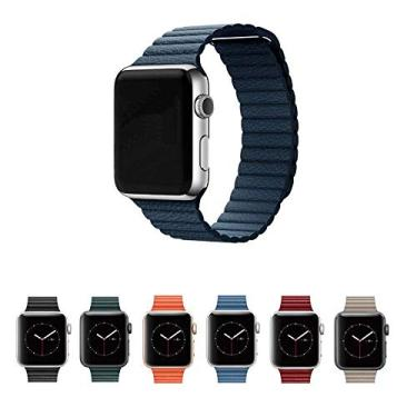 Pulseira Couro Loop para Apple Watch 40mm e 38mm Series 1 2 3 4 5 - Marca Ltimports (Azul Marinho)