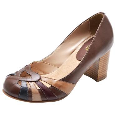 Sapato Miuzzi Couro Salto Medio Feminino Bico Redondo Retrô