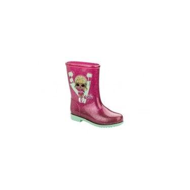 Galocha Infantil Lol Glitter Rosa/verde