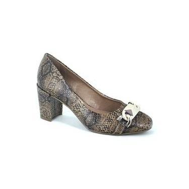 Sapato Scarpin Salto Grosso Em Couro Texturizado Uza 936186