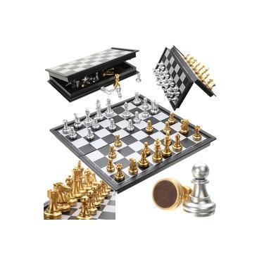 Jogo de xadrez Peças em Prata e Ouro Magnético dobrável Placa dobrável Conjunto Contemporâneo