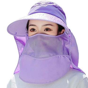 SOIMISS Chapéu de verão protetor de rosto criativo chapéu de aba larga Sunbonnet protetor solar roxo