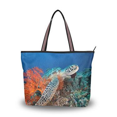 Bolsa Cooper Girl Tartaruga com recife de coral vermelho, alça superior, bolsa de ombro, grande capacidade, Multi, Large