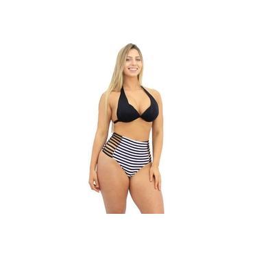 Biquíni Cintura Alta Hot Pants Moda Praia Frente Única Listrado