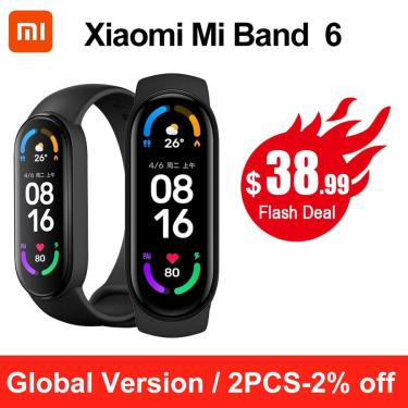 Xiaomi-pulseira inteligente mi band 6, smartband amoled, para monitoramento fitness, frequência