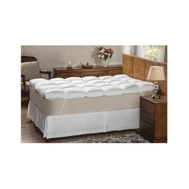 Imagem de Pillow Top Casal Plumasul Fibra Siliconizada em Flocos Percal 233 fios - Branco