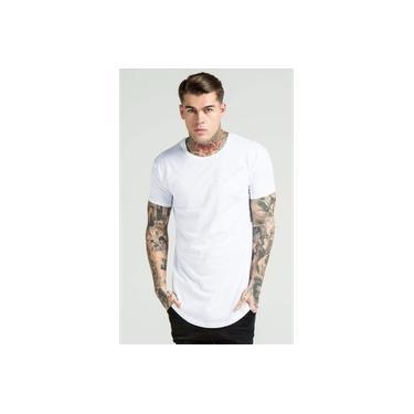 Camiseta Camisa Blusa Longline Oversized Mc-Branco-G