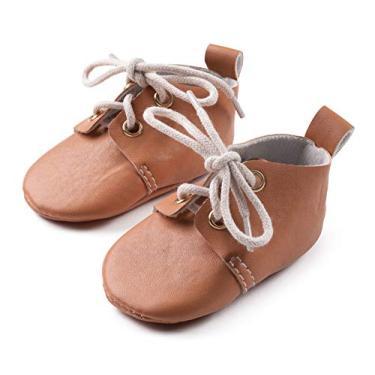 "Sapato social para bebês e meninos da Silky Toes, Oxford - Camel, Size 2 - up to 4.25"""