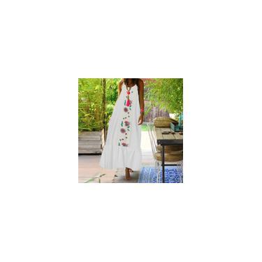 Imagem de Feminino verão casual férias sem mangas redondo pescoço estampado floral plus size vestido maxi solto Branco M