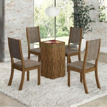 Imagem de Conjunto para Sala de Jantar Mesa e 4 Cadeiras Espresso Móveis Avelã/Canela