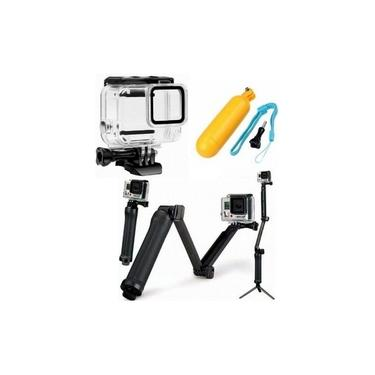 Kit GoPro Hero 8 Bastão 3 Way Com Mini Tripé Caixa Estanque Bastão Boia Flutuante