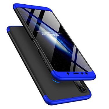 Capa Capinha Anti Impacto 360 Para Samsung Galaxy A7 2018 A750 - Case Acrílica Fosca Acabamento Macio Preto Com Azul