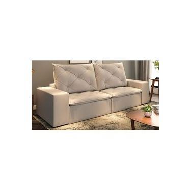 Sofá de Suede retrátil e Reclinável 02 Módulos 1,20m 2,90 x 1,15 x 1,20 | Argel Bege